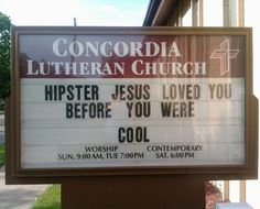 Hipster Jesus Church Sign
