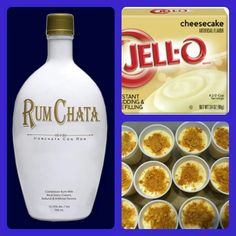 Rum Chata pudding shots: 1 small pkg instant cheesecake pudding, 3/4 c. milk, 3/4 c. Rum Chata, 8 oz. Cool Whip. Whisk pudding, milk and Rum Chata together. Slowly add in Cool Whip a little at a time with whisk. Spoon into shot cups. Garnish with graham cracker crumbs. Freeze for 2 hours.