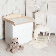 """*Handgefertigter Wickelaufsatz, Wickeltischaufsatz """"Wolke 4"""" aus Naturholz für alle IKEA Malm-Kommoden mit einer Tiefe von 48-49cm.*  Das neue geschwungene Kopfbrett macht diesen Aufsatz zum..."""