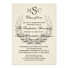 custom printed laurel crest monogram classic college graduation announcement as low as 092 each - College Graduation Invitation