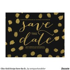 Chic Gold Script Save the Date Postcard Chic Gold Script Save the Date Postcard