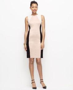 c5e59e46018  139 Ann Taylor Petite Colorblock Sheath Dress 00 Petite Stretch Fabric NEW  A775  AnnTaylor