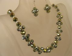 Green Crystal Necklace Set Bridesmaid by baublesandspangles, $39.00