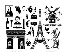 Paris Icons (Vector EPS, CS, arc, architecture, building, cafe, cheese, city, eiffel, eiffel tower, europe, fashion, france, french, heart, icon, illustration, isolated, landmark, love, moulin rouge, paris, romantic, set, silhouette, symbol, tourism, tower, travel, triomphe, vector, wine)