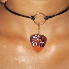 """Pablo Picasso """"3 Musicians"""" Necklace, 14K Ring Necklace, Leather & Gold Filled Necklace, Leather Choker, Art Choker"""