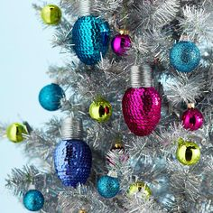 Bright Sequined Christmas Lights - love the color! And that silver tree! Talk about pizzazz! More holiday crafts: http://www.bhg.com/christmas/crafts/christmas-holiday-crafts/