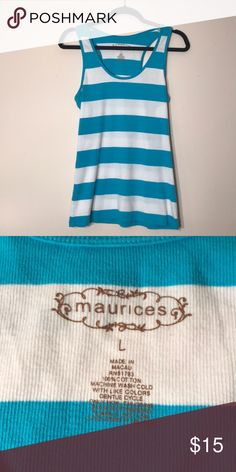 Maurices Striped Tank Top Maurices white and blue striped tank top - like new!  Feel free to ask any questions! Sorry, no trades. Maurices Tops Tank Tops