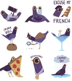 artist syd weiler created the 'trash dove' stickers after spotting pigeons nibbling in minneapolis. Trash Dove, Cute Pigeon, Saint Saturnin, Brush Pen Art, Bird Illustration, Cartoon Drawings, Sticker Design, Creative Art, Art For Kids