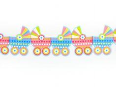 Girlanda bibułowa - wózeczki. Polecamy jako dekoracja na chrzest, na roczek, narodziny dziecka.