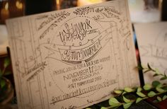 Fabulous recycled kraft paper wedding invitation with black font Illustrated Wedding Invitations, Wedding Invitation Suite, Wedding Stationary, Invitation Ideas, Invites, Kraft Paper Wedding, Cookies Et Biscuits, Rustic Wedding, Products