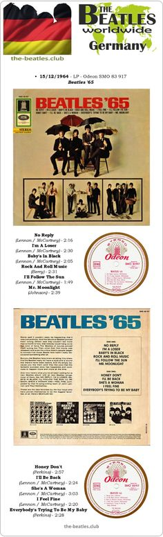 The Beatles Germany LP Odeon SMO 83 917 Beatles '65 Vinyl Record Long Play Discography