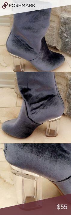 Booties Velvet booties with acrylic heels!  Gray/blue velvet, silver detail around heel. Zip up. Shoes Ankle Boots & Booties