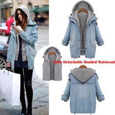 2Pcs Womens Denim Hoody Hooded duster Coat Parka Jean Winter Jacket oversize