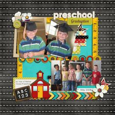 Preschool-700 [school related scrapbooking layout idea - 3 photos]