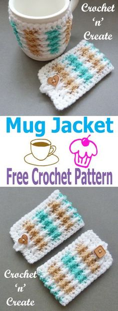 Free crochet pattern for mug jacket, click to see more. #crochetncreate #crochetmugcosy