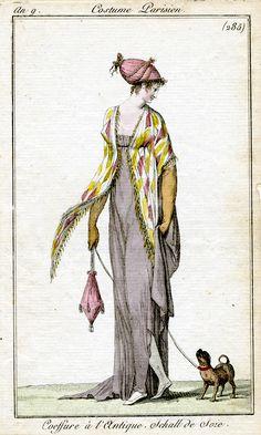"Lavender-grey & yellow. Costume Parisian. 1800. translates ""Antique [ie Greco-Roman style] hairstyle. Silk shawl."""