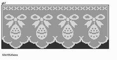 Filet Crochet, Crochet Stitches, Crochet Patterns, Easter Crochet, Crochet Crafts, Crochet Curtains, Christmas Cross, Doilies, Cross Stitch Patterns