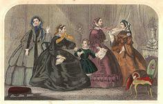 Antique Images: Free Antique Fashion Clip Art: 1859 Victorian Dress Fashion 4, Antique Styles