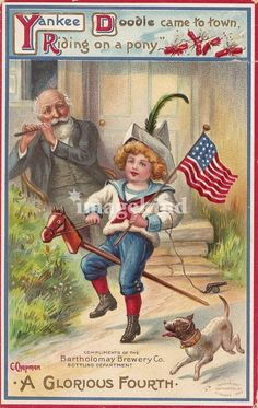 An poster sized print, approx (other products available) - Yankee Doodle came to town, riding on a pony. Fourth of July Greetings card. - Image supplied by Mary Evans Prints Online - Poster printed in the USA 4th Of July Images, Patriotic Images, Patriotic Posters, Yankee Doodle Dandy, Decoupage, Happy 4 Of July, Vintage Greeting Cards, Vintage Holiday, Vintage Postcards