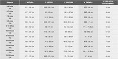 TABLA DE MEDIDAS DE CHICOS - Buscar con Google