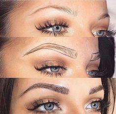 Eyebrows Microblading brows earlier than after Eyebrow Makeup Tips, Permanent Makeup Eyebrows, Hair Makeup, Mircoblading Eyebrows, Eyebrows Goals, Tattooed Eyebrows, Eyelashes, Arched Eyebrows, Make Up Kits