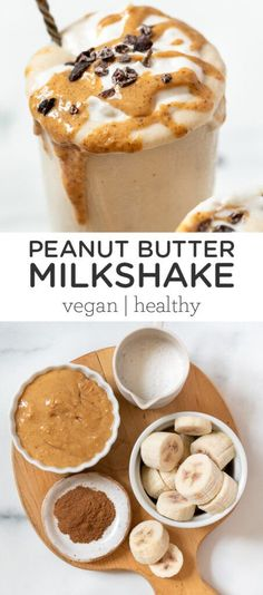 This healthy Peanut Butter Milkshake is made with only 5 ingredients, is gluten-free and vegan, and is arguably the tastiest homemade milkshake recipe you could try! Dairy-free, delicious and you won't believe how easy it is to make! The BEST. Vegan Milkshake Recipes, Peanut Butter Milkshake, Homemade Milkshake, Healthy Milkshake, Healthy Peanut Butter, Vegan Dessert Recipes, Smoothie Recipes, Easy Milkshake Recipe, Easy Healthy Desserts