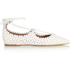 Tabitha Simmons Willa perforated leather point-toe flats (975 CAD) ❤ liked on Polyvore featuring women's fashion, shoes, flats, white, pointed-toe ankle-strap flats, leather pointy toe flats, leather pointed toe flats, pointy toe flats and flat shoes