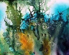 Por amor al arte: Ann Blockley Watercolor Trees, Watercolor Artists, Watercolor Landscape, Abstract Watercolor, Watercolor And Ink, Abstract Landscape, Landscape Paintings, Watercolor Paintings, Abstract Art