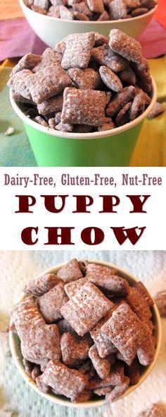 Puppy Chow Snack Mix Recipe: Dairy-Free, Gluten-Free & Nut-Free - - Puppy Chow Snack Mix Recipe: Dairy-Free, Gluten-Free & Nut-Free Go Dairy Free! Puppy Chow Snack Mix Recipe – dairy-free, gluten-free, vegan and nut-free optional Dairy Free Snacks, Vegan Snacks, Dairy Free Recipes, Gluten Dairy Free, Gluten Free Chex Mix, Peanut Free Snacks, Lactose Free Foods, Healthy Gluten Free Snacks, Lactose Free Desserts