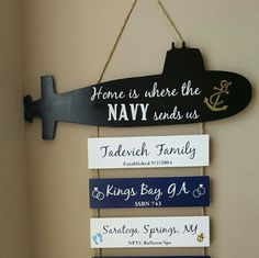 PLEASE READ IN ITS ENTIRETY BEFORE PLACING YOUR ORDER  Submarine is painted BLACK Hanging boards in this listing are alternating White & Navy