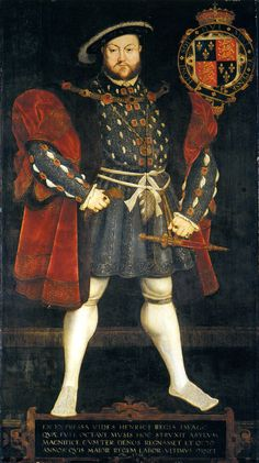 King Henry VIII by Hans Eworth, c. 1567, after Holbein's Whitehall mural. Trinity College, Cambridge.