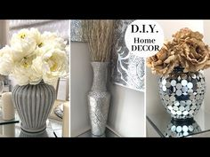 D.I.Y. Home Decor Using THRIFT STORE Items || 🤍 Decorating With Metallic Accents 🤍 - YouTube Handmade Home Decor, Diy Home Decor, Dollar Tree Decor, Diy Candle Holders, Thrift Store Crafts, Decoupage, Centerpiece Decorations, Diy Craft Projects, Craft Ideas