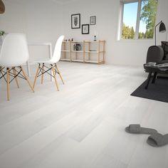 Stilrent parkettgulv i den harde og slitesterke tresorten ask. Hvitlaserte gulvbord med mattlakkert overflate. Lyser opp rommet og skaper et moderne interiør.