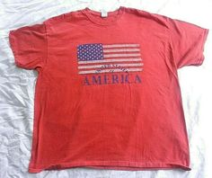 5bdf383e Gildan Red Graphic T-Shirt Men's United States of America with Flag Size  2XL #