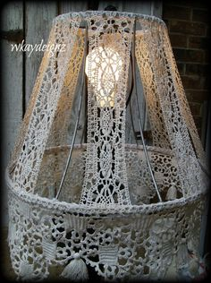Altered Lampshade Vintage White Crochet Bobbin Lace Shabby Chic