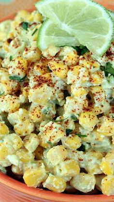 Mexican Crazy Corn Salad 4-5 C cooked, cooled corn 1/2 C grated Parmesan cheese 1 ripe avocado, diced small 1/4 C mayonnaise the juice of 1 lime, plus a second lime cut up for serving 1 t chili powder salt and pepper, to taste toss the corn, cheese and avocado together. whisk the mayo, lime and chile powder together. Gently mix it into the corn until evenly combined.Season to taste with lots of salt and pepper. Serve at room temperature or chilled with lime wedges.