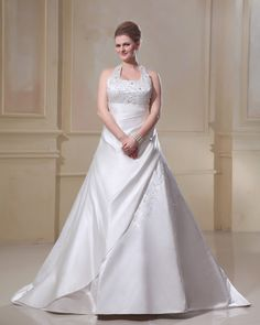 Satin Embroidery Scoop Court Plus Size Bridal Gown Wedding Dress