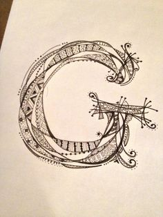 """image zentangle letter """"G""""."""