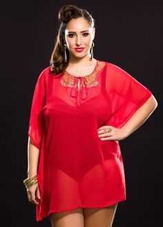 1c183c78911 Medallion Beaded Tie Neck Cover-Up Fashionable Plus Size Clothing