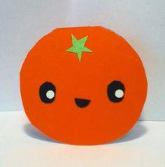 Handmade Kawaii Orange Card  Cardstock by justcreativecards, $3.50