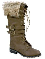 Ladies Fur Top Combat Lace Up Boots Military Style Tan -