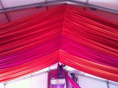 Bright fabric ceiling treatment!