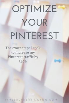 Learn how to optimize your Pinterest profile to get more traffic from Pinterest using the same steps I did to increase my Pinterest traffic by 346% in 20 minutes! Pinterest Marketing | Social Media Marketing | Pinterest Tips | Pinterest SEO
