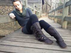 SnapUp Moccasin Boots, Knee High, Custom made by www.RustedAntlerDesigns.com