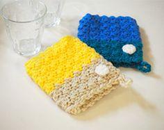 ハマナカボニーで編む シンプルエコタワシ|手編みと手芸の情報サイト あむゆーず Knitting, Simple, Crochet, Interior, Stuff Stuff, Tricot, Indoor, Breien, Stricken