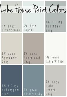 Lake House Paint Colors - The Lilypad Cottage : The Best Lake House Paint Colors - calming blue and gray tones that all coordinate for a seamless color pallet for a lake home. Blue Gray Paint Colors, Bedroom Paint Colors, Exterior Paint Colors, Exterior House Colors, Paint Colors For Home, Wall Colors, Paint Colours, Neutral Paint, Nautical Paint Colors