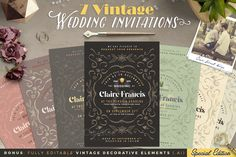 7 Vintage Deco Wedding Invitations I by The Wedding Shop on @creativemarket