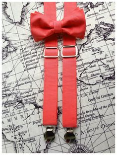 Coral Suspenders & Bow Tie Set by MiaLorenBoutique on Etsy, $39.50- Cute??? Or too much?