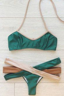 Hollow Out Halter Bikini Set