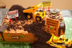 Construction Birthday Cake - looks like they used crushed up Oreo cookies here?